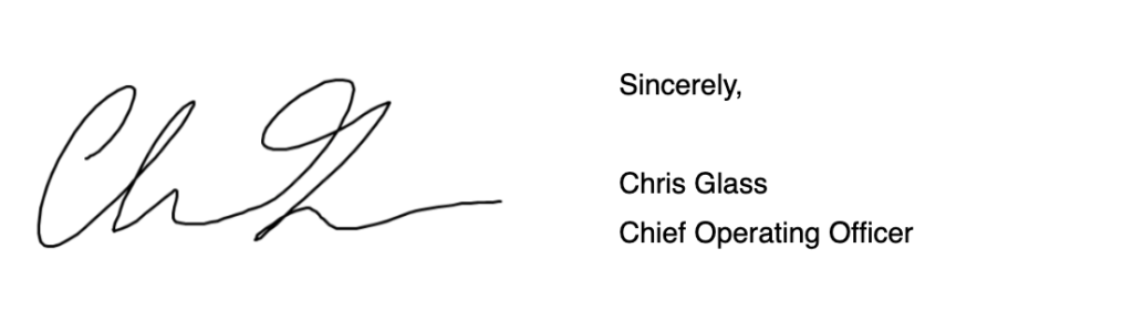 Chris Glass Signature